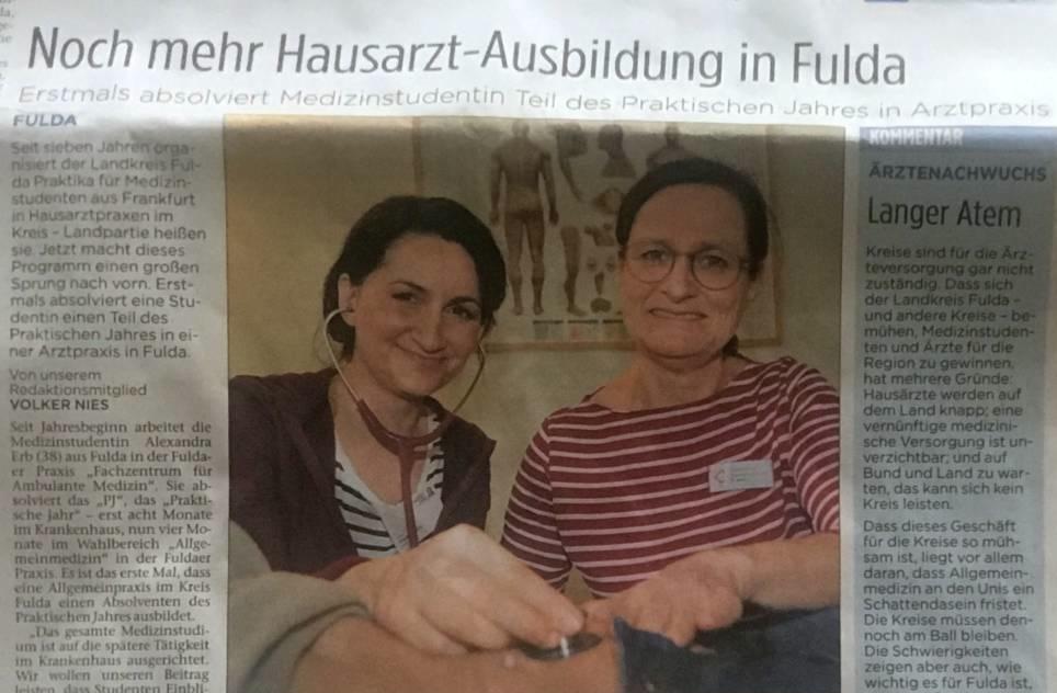 Innere Medizin Fulda bildet als erste Praxis im Praktischen Jahr (PJ) aus.